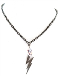 DEVILS ARROW OPAL SKULL & LIGHTENING BOLT NECKLACE