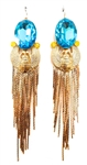 KHEPRI BEETLE TURQUOISE FRINGE EARRINGS