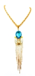 KHEPRI BEETLE TURQUOISE FRINGE NECKLACE