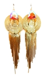 KHEPRI BEETLE PINK FOX FRINGE EARRINGS