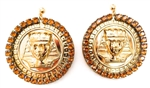 KING TUT HONEY DUST RHINESTONE MEDALLION EARRINGS