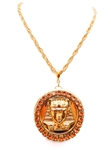 KING TUT HONEY DUST RHINESTONE MEDALLION NECKLACE