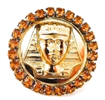 KING TUT HONEY DUST RHINESTONE MEDALLION RING