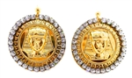 KING TUT MOONDUST RHINESTONE MEDALLION EARRINGS