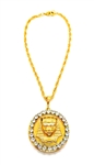 KING TUT MOONDUST RHINESTONE MEDALLION NECKLACE