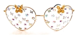 FAIRY REBEL WHITE MORPHO GILT BUTTERFLY JUMBO HEART GLASSSES