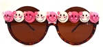 HAPPY PINK & WHITE PEEKABOO SUNGLASSES