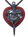 FLAT BLACK HEART DAGGER HEART MEDALLION