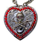 GUN METAL SKULL & BONES HEART MEDALLION