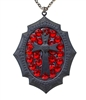 FLAT BLACK SACRED HEART CROSS MINI NECKLACE