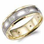 Diamond 10K White and Yellow Gold Band