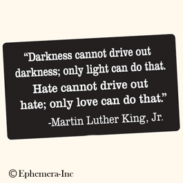 """Darkness cannot drive out darkness; only light can do that. Hate cannot drive out hate; only love can do that."" -Martin Luther King, Jr."