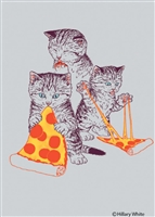 Kitties eating pizza