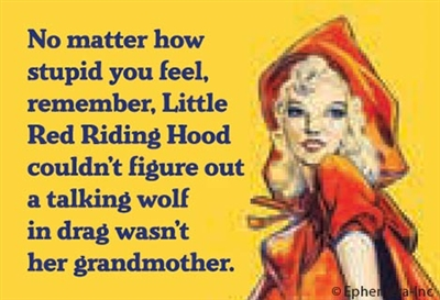 No matter how stupid you feel, remember, Little Red Riding Hood couldn't figure out a talking wolf in drag wasn't her grandmother