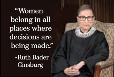 """Women belong in all places where decisions are being made."" -Ruth Bader Ginsburg"