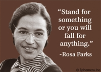 """Stand for something or you will fall for anything"" -Rosa Parks"