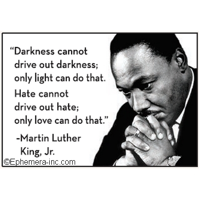 """Darkness cannot drive out darkness, only light can do that. Hate cannot drive out hate; only love can do that."" - Martin Luther King Jr."