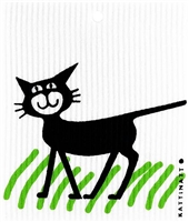 Swedish Wash Towel-100% Biodegrade-Cat in Grass