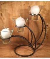 """Sydney"" Danish Iron - 3 ""Leif"" Glass Candle Cups - Modern- Karner Blue Candle & Supply"
