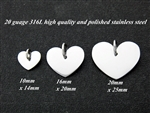 (01)316L Stainless Steel Heart Disc 6 pack 16mmx20mm
