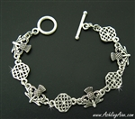 Scottish Thistle and love knot Celtic toggle bracelet ( Jpew7003)