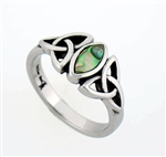 316L Stainless Steel Abalone Trinity Knot Ring (S82)