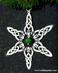 Claddagh w/ Green Cat's Eye Bead SnowWonders® Snowflake (#SW5059)