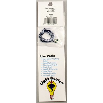 "025321 LIGHT GENIE LED MINI RED WITH 12"" LEADS (4 pack)"