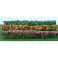 "0595510 FLOWER HEDGES 5"" x 3/8"" x 5/8"", HO-SCALE , GREEN & ASSORTED BLOSSOM-BLENDED, 8/PK"