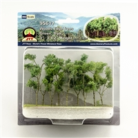 "95617 Woods Edge Trees, Green, 3"" to 3.5"", HO-scale, 9/pk"