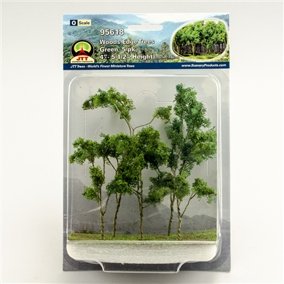 "95618 Woods Edge Trees, Green, 4"" to 5.5"", O-scale, 5/pk"
