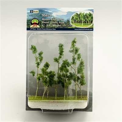 "95621 Woods Edge Trees, Pastel Green, 4"" to 5.5"", O-scale, 8/pk"