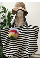 Hey Girl Striped Beach Bag
