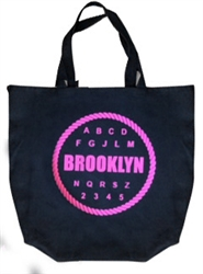 Brooklyn Alphabet & Number Fuchsia Tote Bag