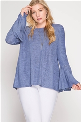 Blue Bell Sleeve Ribbed Top