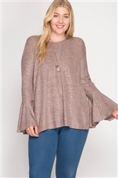Rose Bell Sleeve Ribbed Top