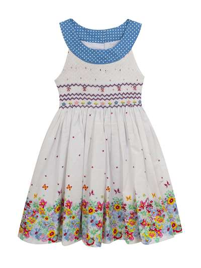White Floral Printed  Dress With Smocking, Rare Editions, Baby Girls (12-24M)
