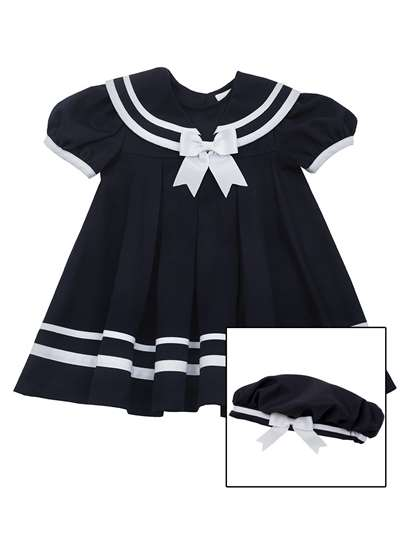 Navy Nautical Dress With Hat And With White Trim,Rare Editions,Baby Girls (12-24M)