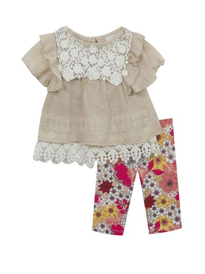 Ivory Lace To Taupe Gauze With Floral Legging,Rare Editions,Baby Girls (12-24M)
