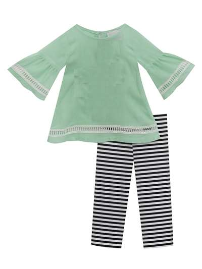 Spearmint Gauze To Black & White Stripe Capri,Rare Editions,Baby Girls (12-24M)