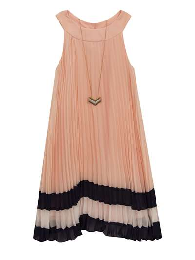 Blush Pleated Chiffon Dress W/ Necklace & Navy Trim,,Rare Editions,Little Girls (4-6X)