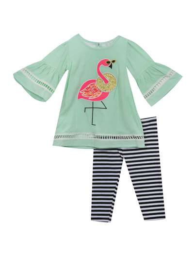 Fancy Flamingo Spearmint Gauze Capri Set,Rare Editions,Little Girls (4-6X)