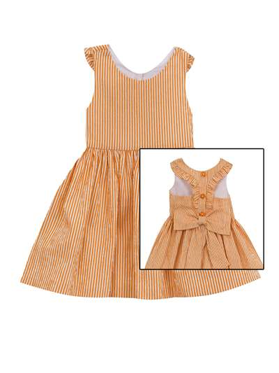 Creamsicle Seersucker Dress With Back Bow And Buttons, Rare Editions, Little Girls (4-6X)