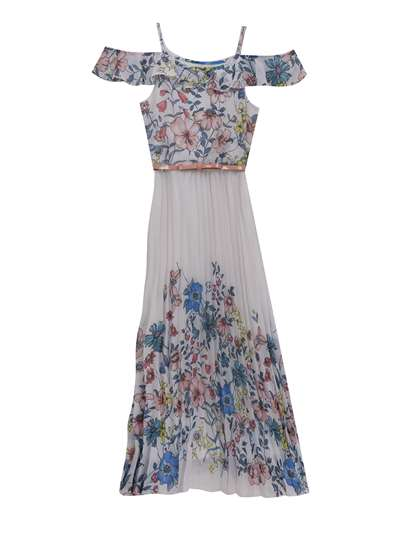 Ivory Chiffon Floral Pleated Maxi,Rare Editions,Big Girls (7-16)