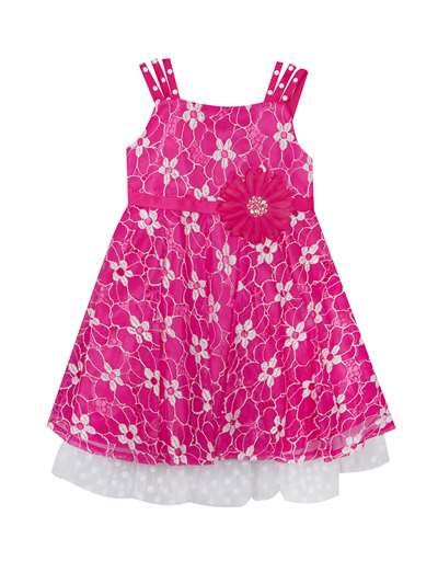 Fuchsia Lace Party Dress With Flower Embellishment,Rare Editions,Big Girls (7-16)
