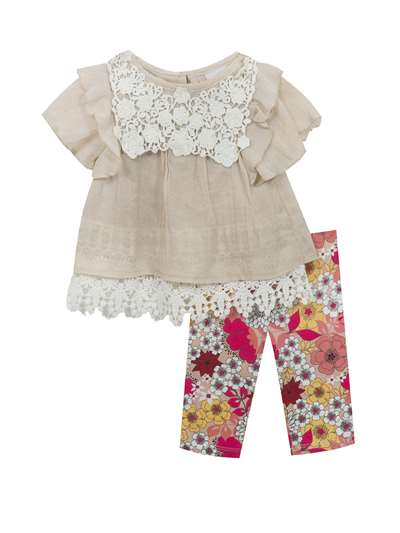 Tan Gauze & Ivory Lace Top To Floral Legging,Rare Editions,Baby Girls (0-9M)