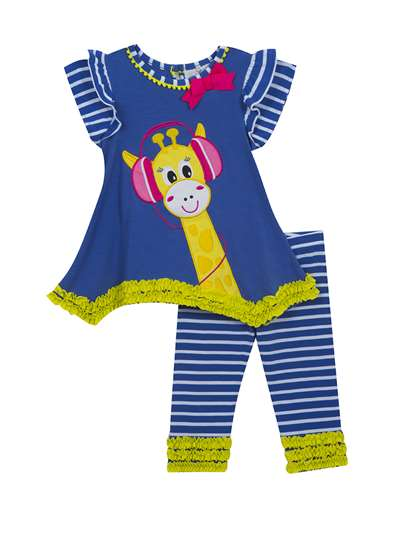 Blue Giraffe Set With Ruffle Embellishment,Rare Editions,Little Girls (2-6X)