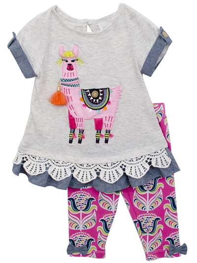 Chic Light Gray Llama Knit To Ruffle Set, Rare Editions, Baby Girls (12-24M)