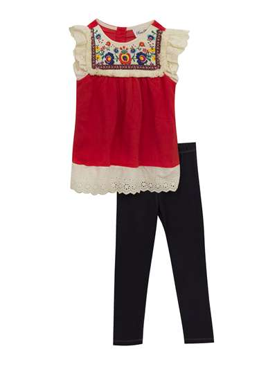 Embroidered Top With Eyelet Ruffles With Jegging Set, Rare Editions, Baby Girls (12-24M)