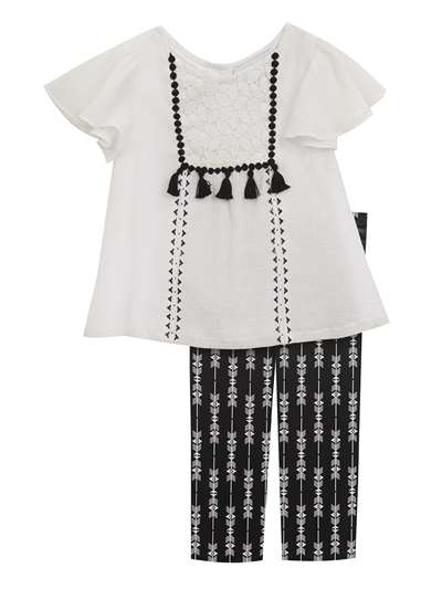 White Gauze Embroidery With Black Print Leggings, Rare Editions, Baby Girls (12-24M)